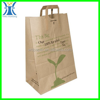 Yiwu 2017 New Arrived Brown Shrong Printed Flat Handle Recycled Paper Bags With Handles Whole In