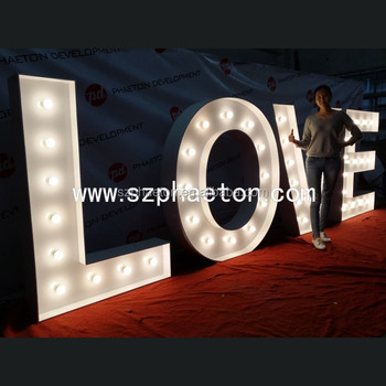 High quality powder coating finish led marquee letter light LOVE