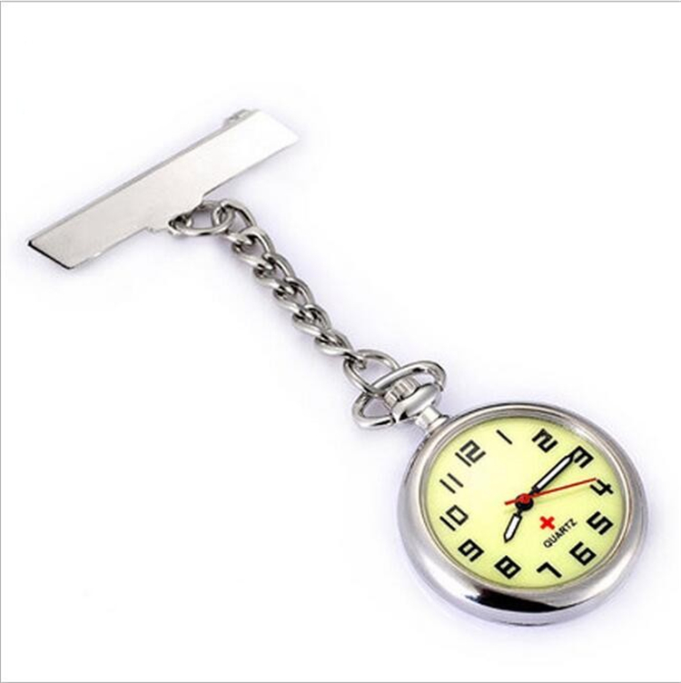 Metal clip with glow in dark hands new stainless steel nurse watch high quality nurse pocket watch