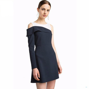 New styling Lady navy one shoulder blazer dress with attached tank and side button