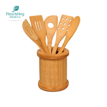 Eco Friendly Bamboo Wooden Kitchen Utensil Set Of 6 With Holder