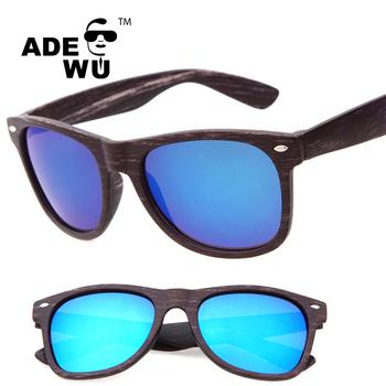 4bad8e09d8684 Venda quente 15 cores da lente UV400 Espelho falso óculos de sol de madeira