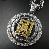 50 cent Hot Hip Hop Cuban Link Chain 50 cent 14k Gold Silver Plated Crystal Bling Bling Iced-Out Pendant