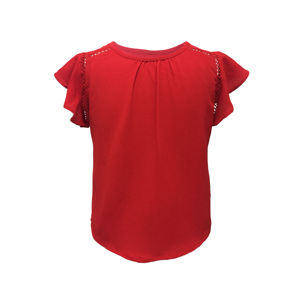 New Collection 100% Polyester Children Elegant Party Wear Fancy Round Neck Frilled Cap Sleeve Back Slit Top with Lace for Girls