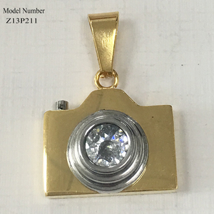 new design camera shape stainless steel pendant designs gold plated jewelry