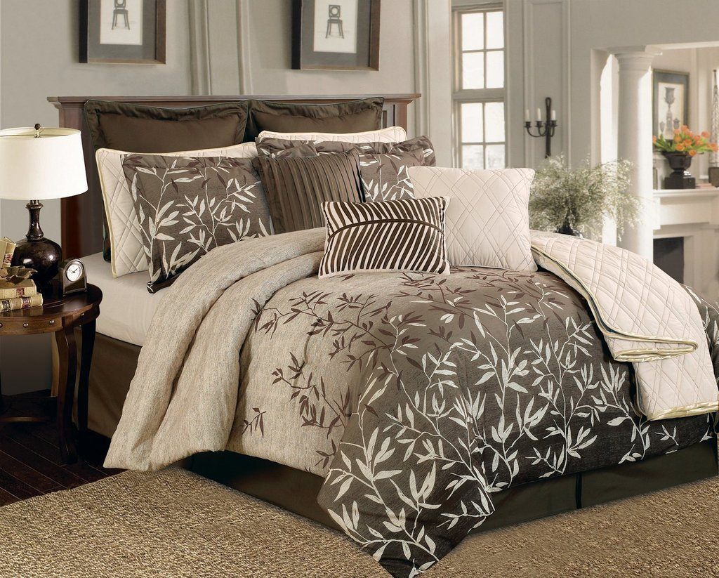 Buy Legacy Decor 8 PC Beige, Taupe and Black Faux Silk ...