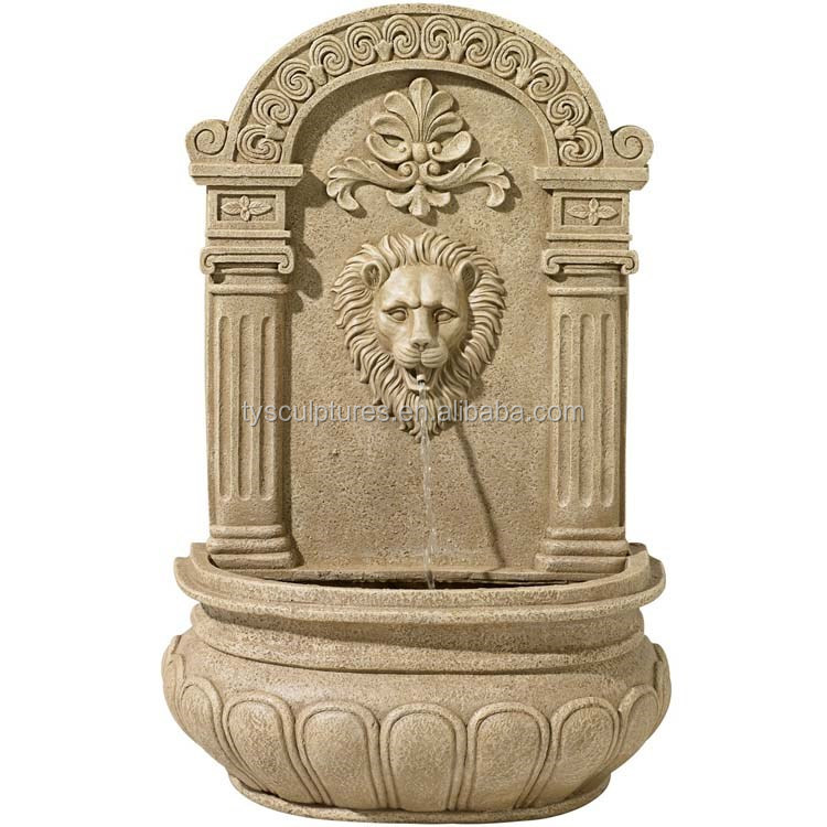 Natural stone garden antique wall hanging lion head wall fountain