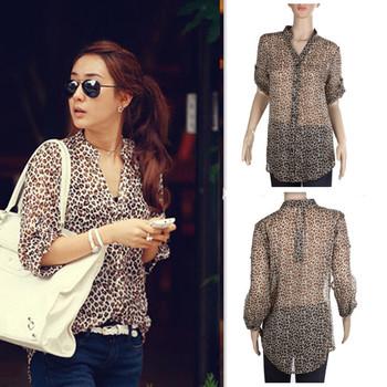cf76f4023409 Fashion Womens Leopard Print Chiffon Shirt 3 4 Sleeve Button Down Blouse  Tops