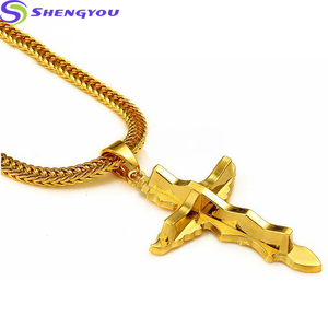 Best Selling Fashion Jewelry Gold Plated Odd Sword Men Necklace Pendant