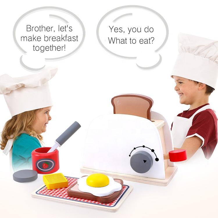 wooden Pretend Play Kitchen Toys Cooking Bread Machine Coffee Machine Mixer Education Toys