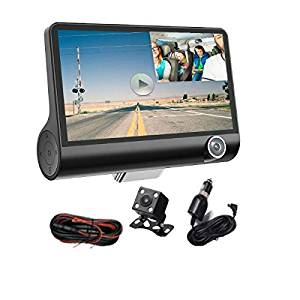 Hangang 3 Lens 4 '' LCD FHD 1080p 170 Wide Angle Dashboard Camera Recorder Multifunctional Car Dash Cam Car DVR Dash Cam Video Recorder Rearview Camera with Night Vision, FHD,G-Sensor, Loop Recording