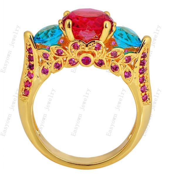 10ps/lot Size 6/7/8/9/10 Women Fashion Jewelry Rings 10KT Yellow Gold Filled Zircon Stone Finger Ring Best Selling RY0241