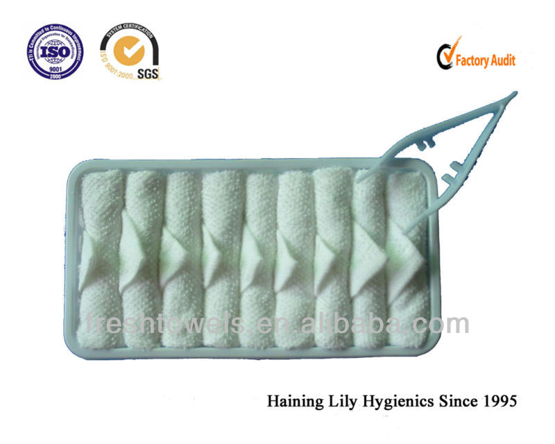 Airline towels/airlines disposable face dry towel with tray and tong