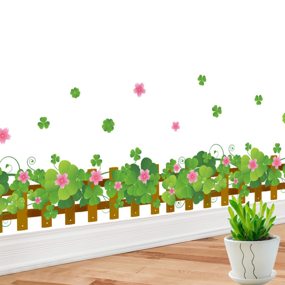 Warm romantic fresh green clover flowers baseboard wall stickers r bypass line DIY removable wallpaper wall stickers home decor