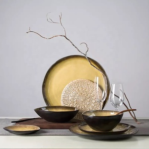 Home goods reactive creative brass color japanese stoneware plates dinnerware sets