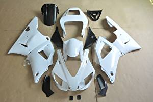 Wotefusi Brand New Motorcycle ABS Plastic Unpainted Polished Needed Injection Mold Bodywork Fairing Kit Set For Yamaha YZF R1 1998 1999 White Base Color