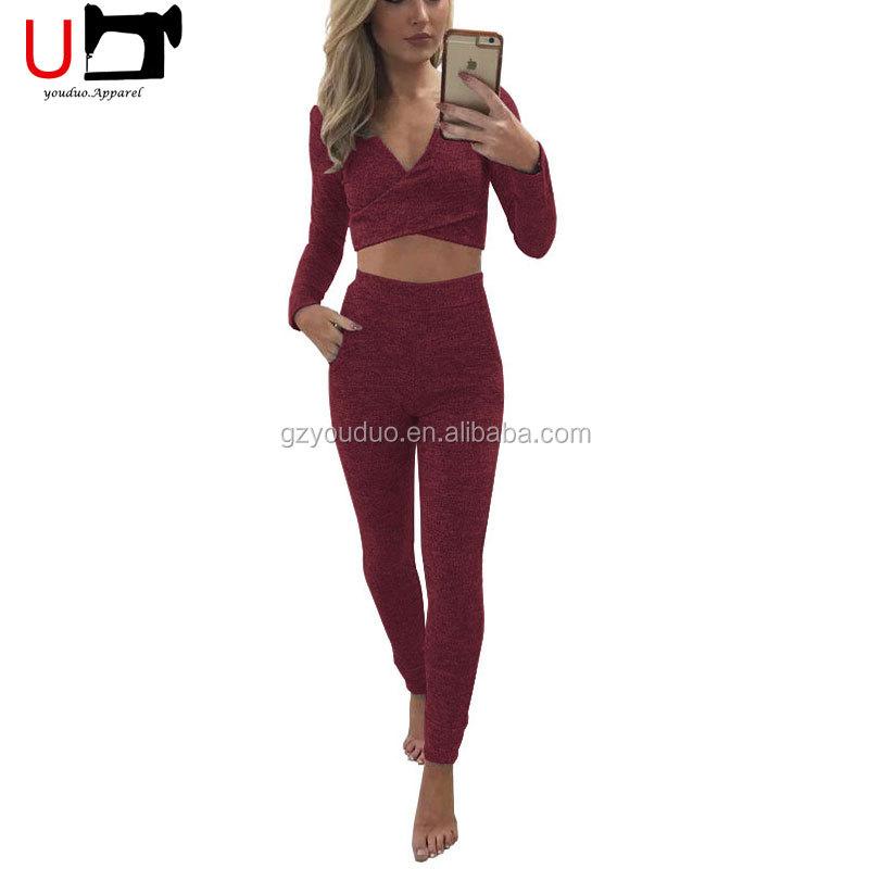 3b1c0f8133e37 Seksi Soğuk Omuz Tank Top ve Bandaj Uzun Pantolon Iki Parçalı Set Kadın  Giyim