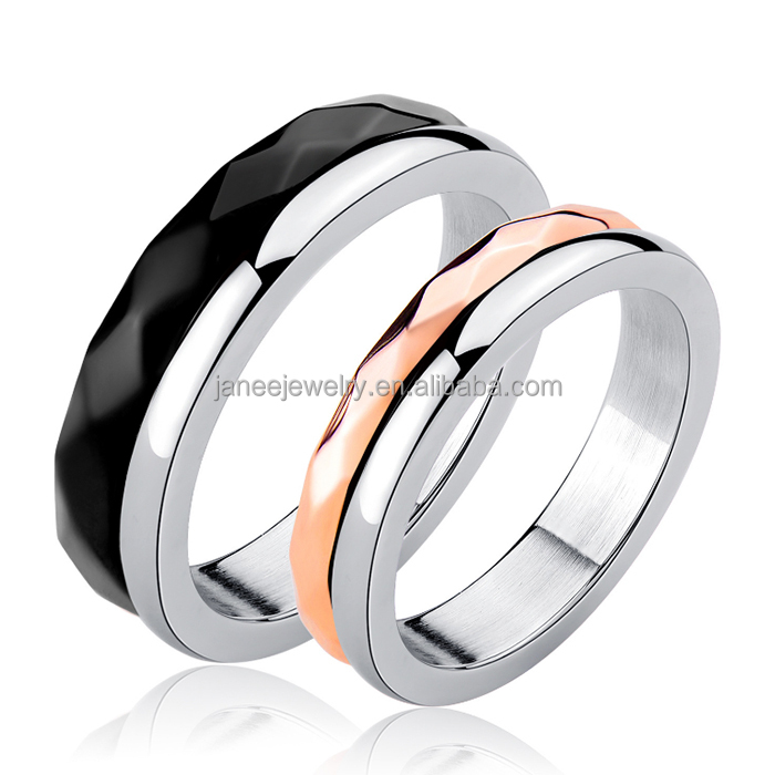 Fashion Jewelry Hide Love Message Black Rose Gold Faceted Stainless Steel Couple Rings for Valentines Day