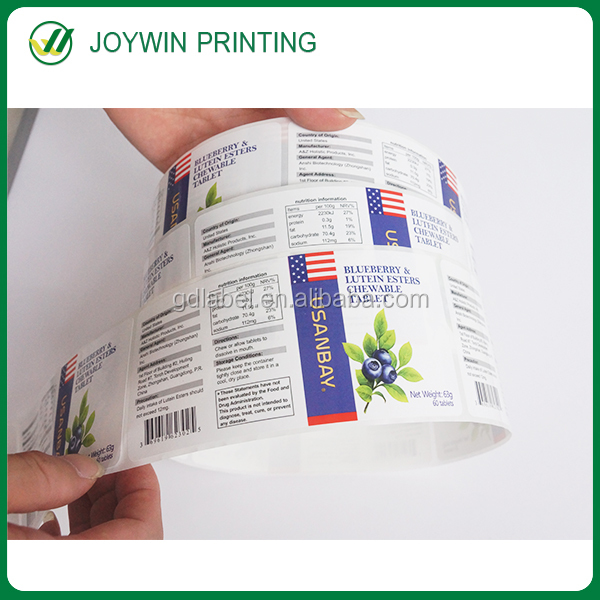 Factory price waterproof paper private label fitness products , health labels