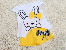 NEW Retail Free shipping girl T shirt bowknot pants set girl clothing set kids clothing set