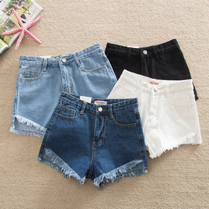 Elegant Ripped Hem Denim Shorts New Summer Mid Waist Zipper Fly Casual Woman Bottoms Straight Leg Loose Shorts Jeans