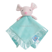 Lovely plush pink mouse toy head with blanket baby comforter blanket toy size 35x35cm