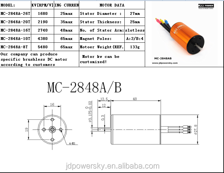 JD-power MC-2848AB high speed inrunner coreless brushless dc motor for electric tool rc car racing boat duct