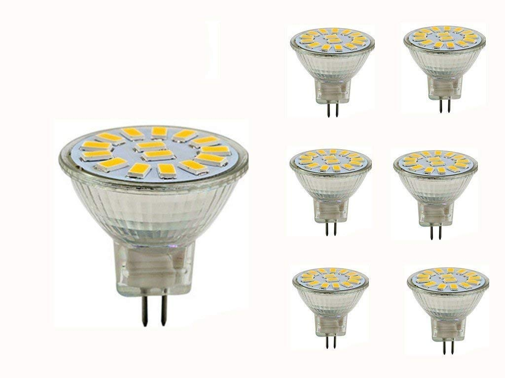 JKLcom 4W MR11 GU4 LED Bulbs 6 Pack LED Flood Light Bulb SMD 5730 15LEDs MR11 GU4 LED Light Bulb for Home Landscape Track Lighting, Equivalent 25-30W Halogen Bulbs,Warm White 3000K