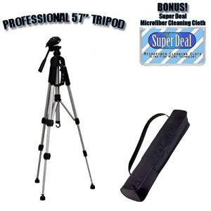 PROFESSIONAL 57 Inch Tripod with Carrying Case For The Canon VIXIA HV40, HV30, HV20, HG10 High Definition Camcorders with Exclusive FREE Complimentary Super Deal Micro Fiber Lens Cleaning Cloth