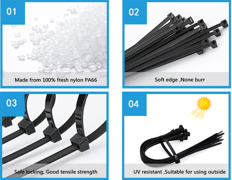 NLZD Heavy duty cable ties 7.6 mm series ,120lbs,55kgs,high tensile strength black zip ties plastic