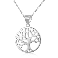 POLIVA Hot Seller Simple Design Plain Silver 925 Jewelry Thriving Family Tree of Life Necklace Pendant