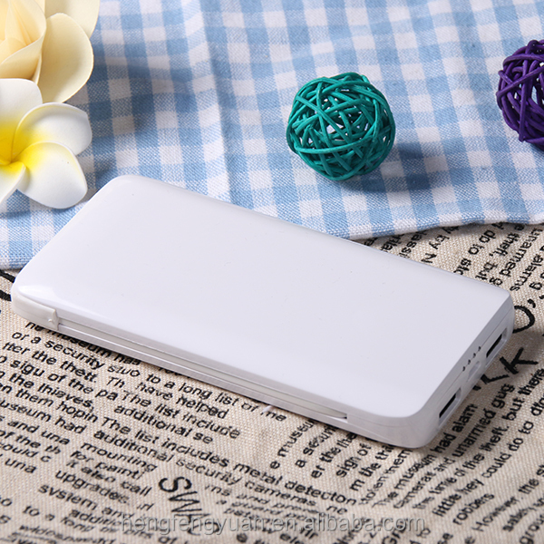 New Arrival Super fast charge 5000 mah power bank built in cable for android
