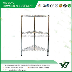2015 hot sell NSF 50KGS light duty 3 layer chrome corner metal wire shelf rack with 4 wheels (YB-WS016)