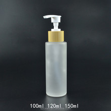 Bamboo press Shampoo pump cap frosted glass bottle wholesale 100ml 120ml 150ml