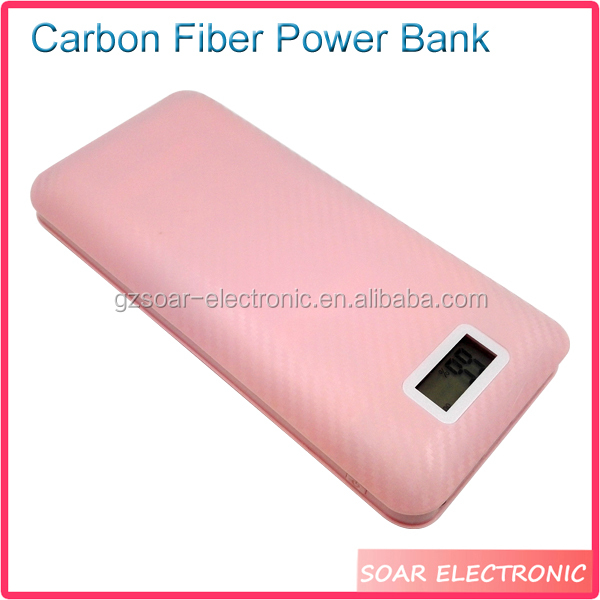 [Soar]New Arrival 20000Mah Led Carbon Fiber Power Bank With Three Output Ports
