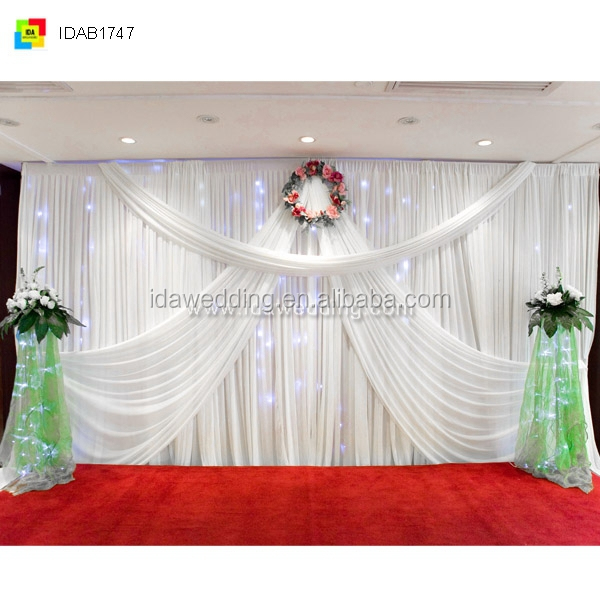 Curtains Ideas curtains decoration pictures : Church Curtains Decoration/satin Ruffled Backdrop/customized White ...