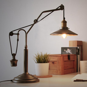 Industrial matte black wrought iron office smart metal table lamp industrial matte black wrought iron office smart metal table lamp with pulley adjustable wire and reflector greentooth Image collections