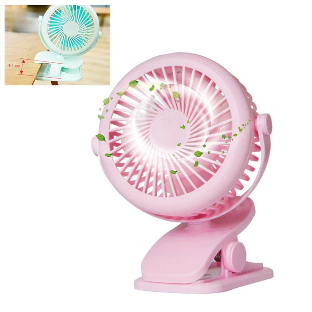 KOBWA USB Clip Desk Fan, 360 Degree Rotation USB or Battery Powered Mini Table Fan Protable for Home Office Dorm Library, 3 Speeds (Pink)