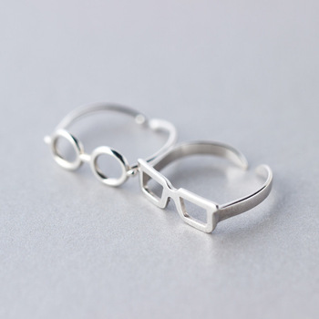 91d9f5fcbf 2017 Creative S925 sterling silver couple rings men and women round box  glasses rings finger sunglasses