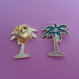 18k gold coconut palm tree brooch collar pin travel promotional gifts palm tree badge