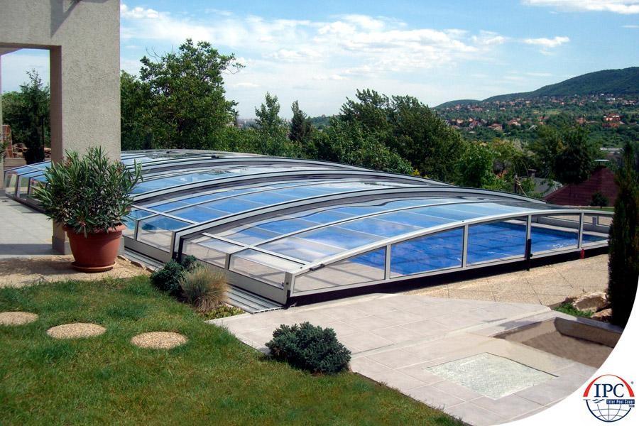 Dur en plastique jardin résidentiel pliage piscine couverture de ...