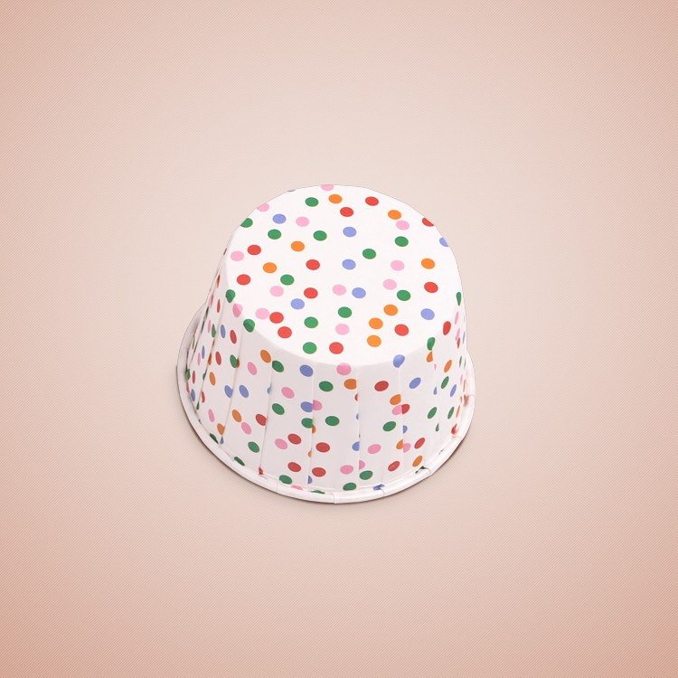 healthy recclable Greaseproof Round Paper Cupcake Liners with Colorful Dot White