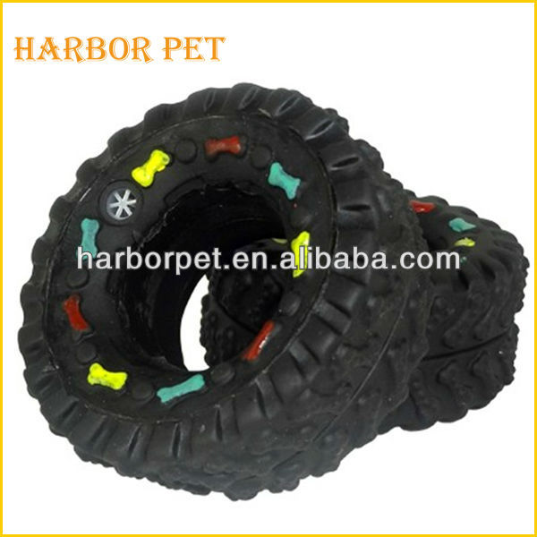 Vinyl Squeaky Pet Toy Tire Shaped