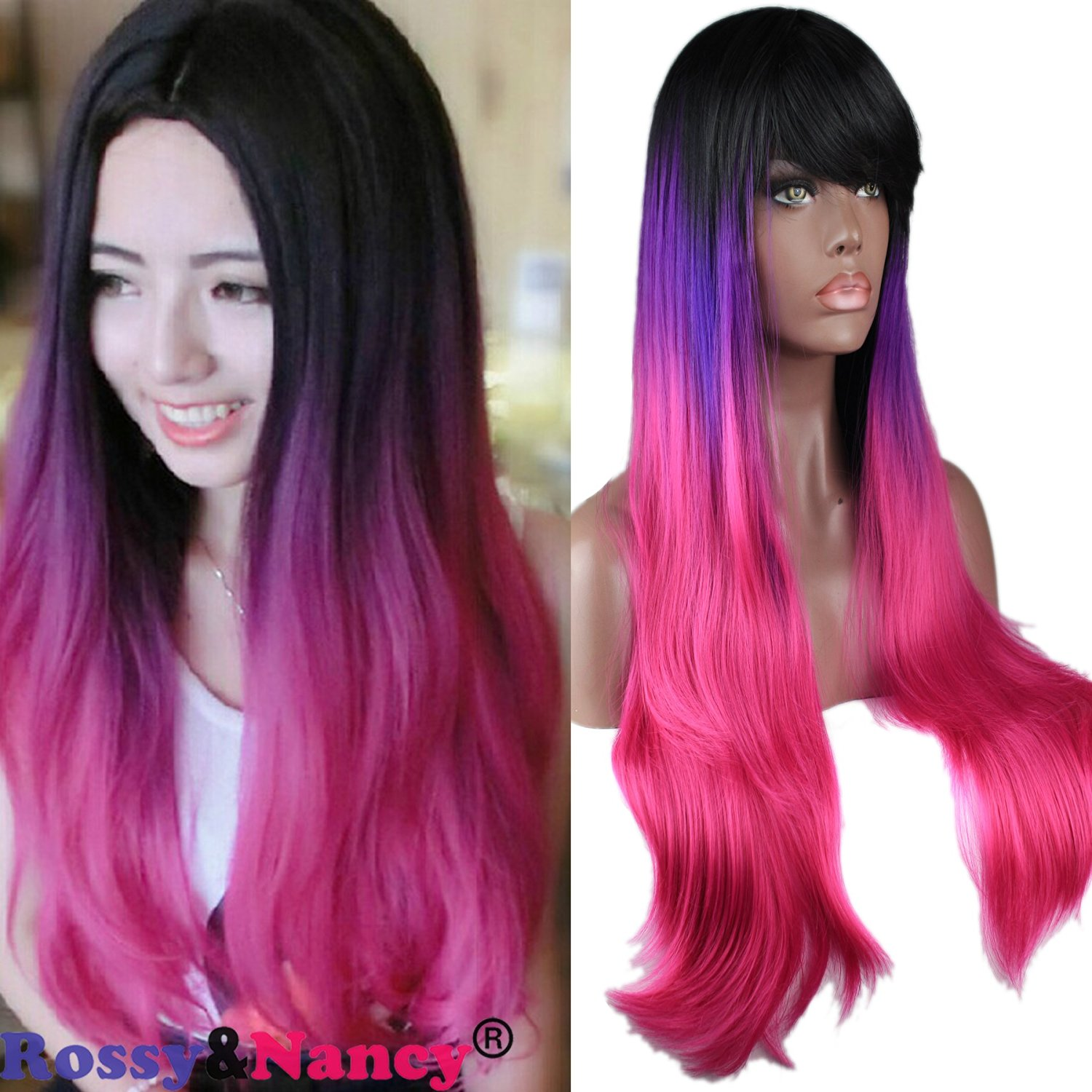 Rossy&Nancy Women's Fiber Long Wavy Cosplay Costume Wig 3 Tone (Black, Purple, Pink) Purple Red Gradient Ombre Long Straight Ombre Synthetic Wig with Bang Free Part 130% High Density for Women 22inch