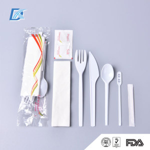 Wholesale Round Handle Airline Disposable Plastic Cutlery with Napkin