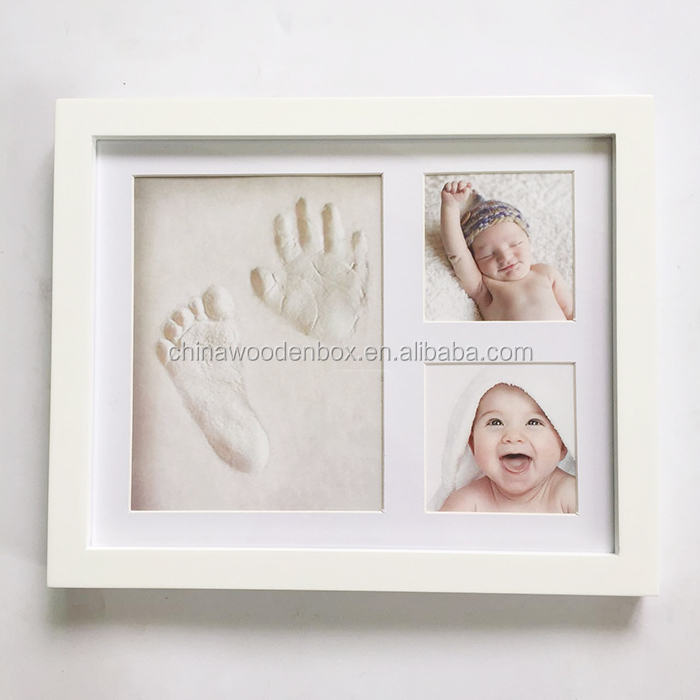 Baby Wooden Keepsake Frame Handprint And Footprint Wooden Frame ...