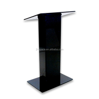 Floor Standing Pulpit Lectern Platform Black Tall Acrylic Church Podium