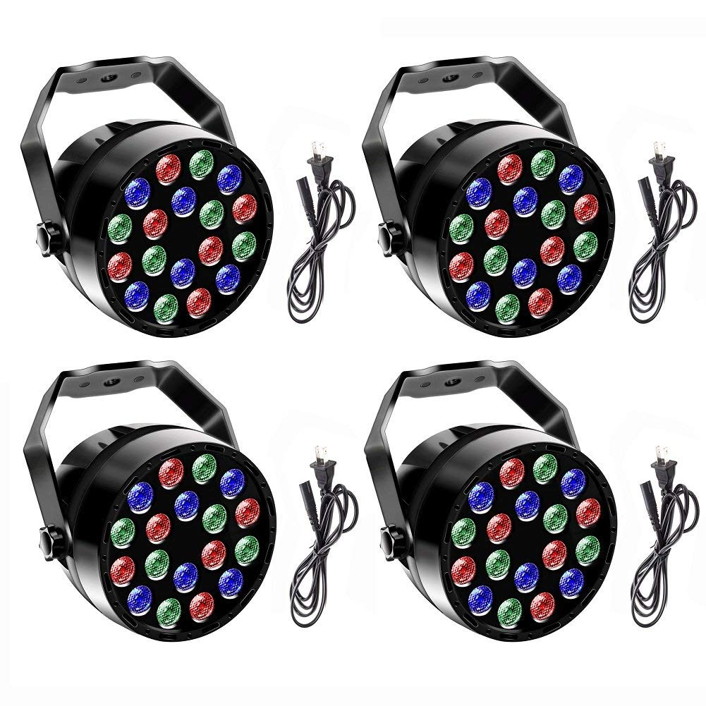 U`King DJ Par Lights with RGB 18Leds Stage Light Gorgeous Effect by DMX Controlled for Up Stage Lighting - 4 Pack