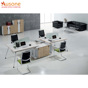 MFC office furniture 4 person workstation with frosted glass screen