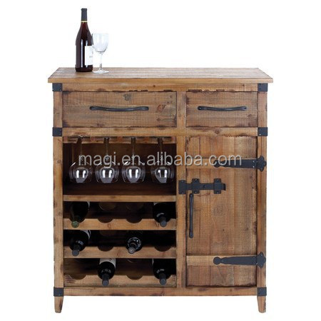 Vintage Style Distressed Solid Wood wine cabinet
